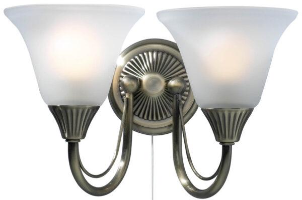 Dar Boston Switched 2 Lamp Wall Light Antique Brass