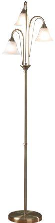 Dar Boston 3 Light Floor Lamp Traditional Antique Brass