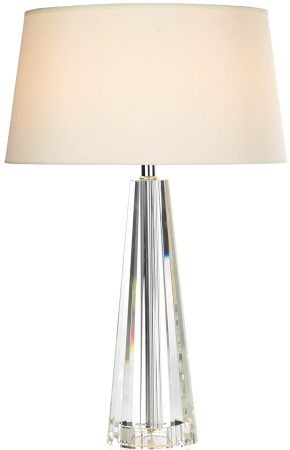 Dar Cyprus Tapered Crystal Colum Table Lamp With Cream Shade
