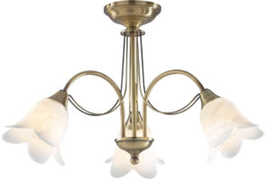 Dar Doublet Traditional 3 Light Semi Flush Antique Brass