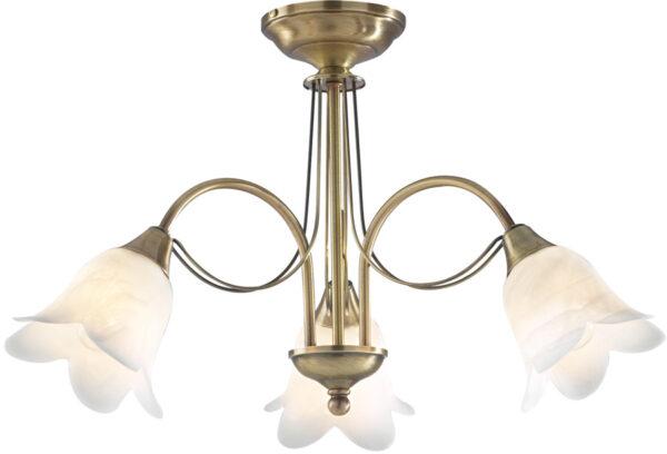 Dar Doublet Traditional 3 Light Semi Flush Antique Brass