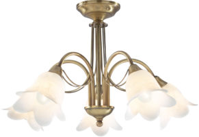 Dar Doublet Traditional 5 Light Semi Flush Antique Brass