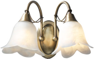 Dar Doublet Switched 2 Lamp Wall Light Antique Brass