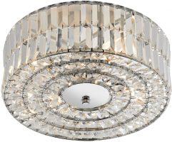 Dar Errol 4 Light Flush Crystal Drum Ceiling Fitting