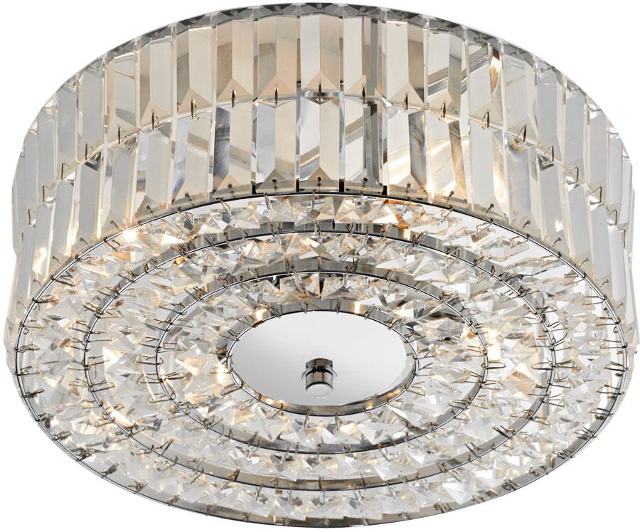 save off 7f6fe 66371 Dar Errol 4 Light Flush Crystal Drum Ceiling Fitting