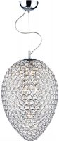 Dar Frost Modern 3 Light Faceted Glass Ceiling Pendant Chrome