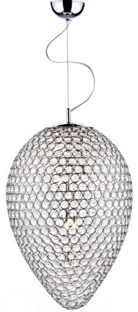 Dar Frost Modern 5 Light Faceted Glass Ceiling Pendant Chrome