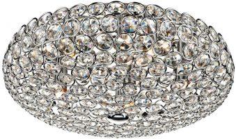 Dar Frost Modern 5 Lamp Crystal Flush Ceiling Light Chrome