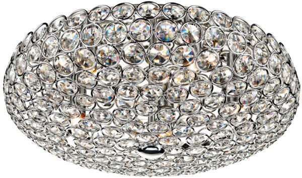 Dar Frost Modern 5 Lamp Crystal Flush Ceiling Light Chrome