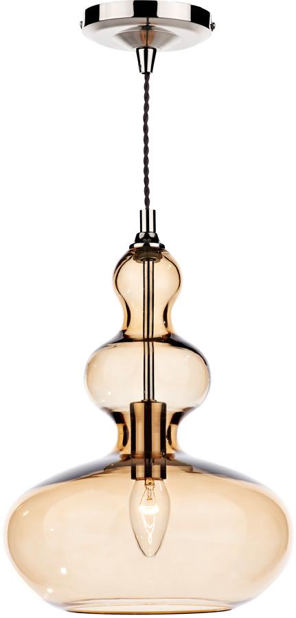 Dar Goa Modern 1 Light Champagne Glass Ceiling Pendant Chrome Goa0135