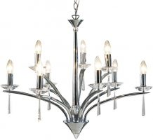 Dar Hyperion Modern 9 Light Dual Mount Chandelier Chrome
