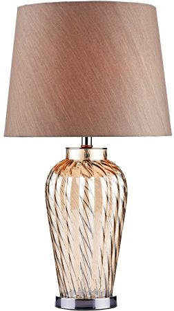 Lilly Fluted Champagne Glass Table Lamp With Taupe Shade