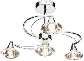 Dar Luther Modern 4 Lamp Crystal Light Semi Flush Chrome