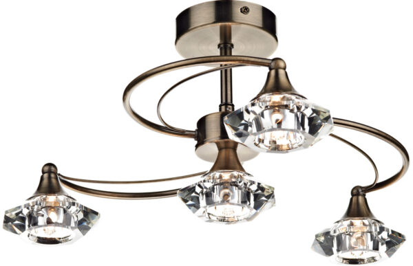 Dar Luther 4 Light Semi Flush Crystal Light Antique Brass