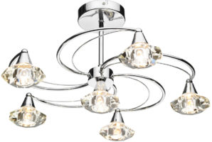 Dar Luther Modern 6 Light Semi Flush Crystal Light Chrome