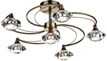 Dar Luther 6 Light Semi Flush Crystal Light Antique Brass