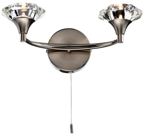 Dar Luther 2 Lamp Switched Crystal Shade Wall Light Satin Chrome