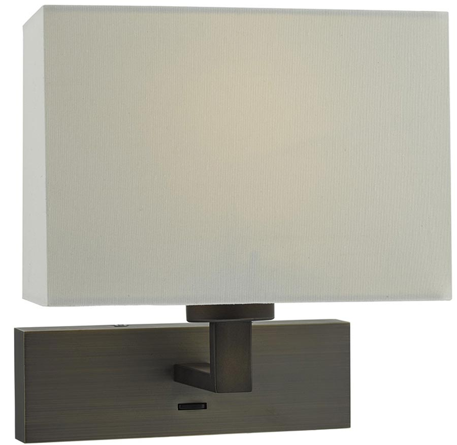 Self Switched Wall Lights : Dar Modena Bronze Switched Wall Light Bracket Only MOD7163