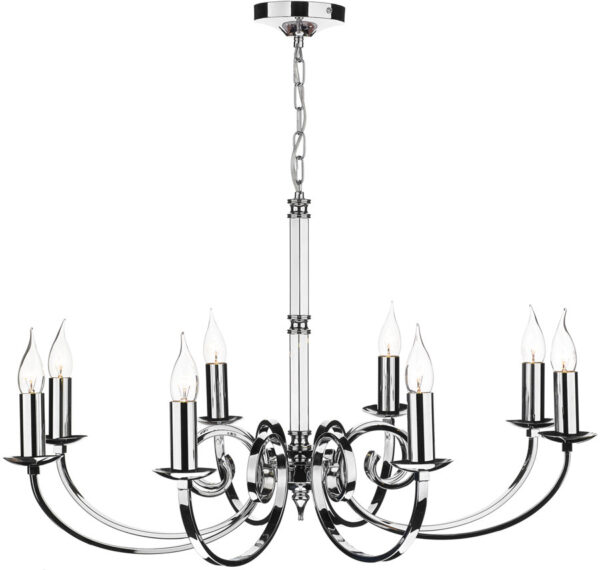 Dar Murray Large 8 Light Dual Mount Chandelier Polished Chrome
