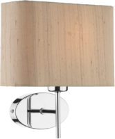 Dar Padova Modern Taupe Silk Shade Wall Light Chrome