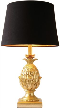 Dar Pineapple Gold Table Lamp With Gold Lined Black Shade