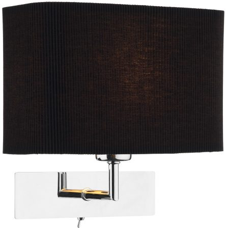 Bedside Wall Lights Switched : Piza Chrome Switched Bedside Wall Light And Black Shade PIZ0750-S1077