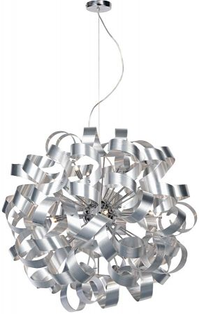 Dar Rawley Large 12 Light Ribbon Pendant Brushed Aluminium