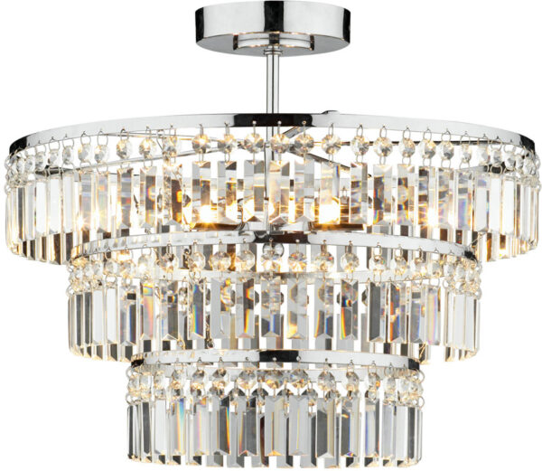 Dar Rowena Modern 3 Lamp Semi Flush Crystal Light Chrome