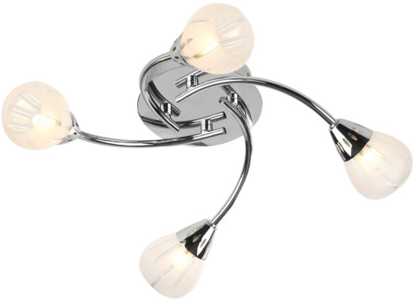 Dar Villa 4 Lamp Swirl Flush Light Polished Chrome