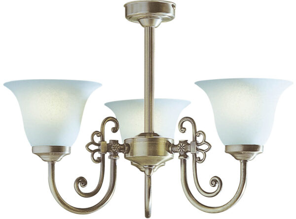 Dar Woodstock Semi Flush 3 Light Fitting Antique Brass