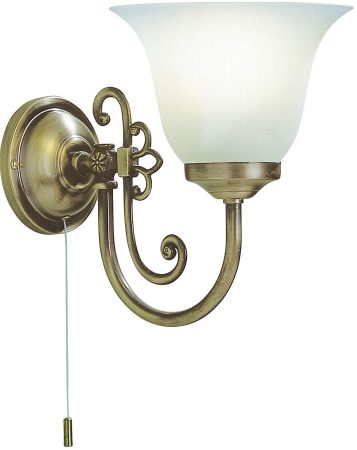 Dar Woodstock Switched Single Wall Light Antique Brass