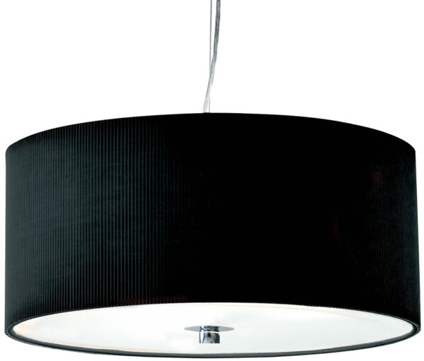 Dar Zaragoza Small Modern 3 Light Pendant 40cm Black Drum