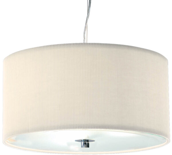 Dar Zaragoza Small Modern 3 Light Pendant 40cm Cream Drum