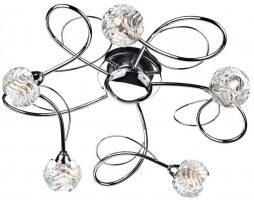 Dar Zelda Modern 5 Lamp Flush Ceiling Light Chrome