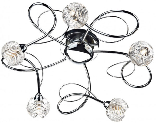 Dar Zelda Modern 5 Lamp Flush Ceiling Light Chrome