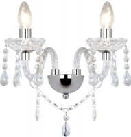 Dar Katie Traditional 2 Lamp Acrylic Crystal Wall Light Chrome