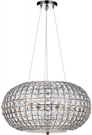 Dar Plaza Modern 3 Light Crystal Sphere Pendant Chrome