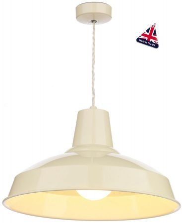 David Hunt Reclamation Gloss Cream Industrial Pendant Lighting