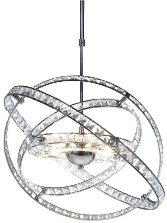 Dar Eternity Adjustable Height 10 Light Crystal Pendant Polished Chrome