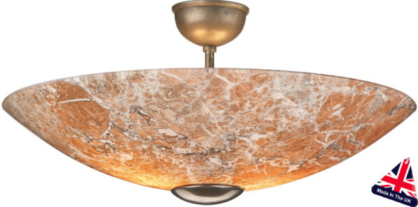 Savoy Marble Glass Art Deco Style Semi Flush Ceiling Lamp UK Made