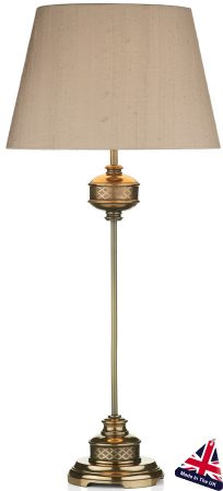 Relic Bronze Table Lamp And Taupe Silk Shade