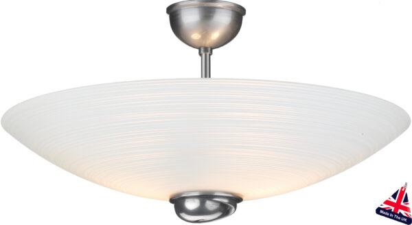 Art Deco Style White Swirl Semi Flush Uplighter