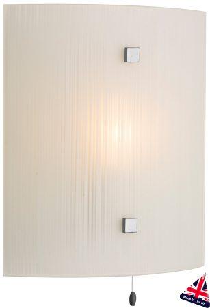 Modern White Swirl Glass Switched Wall Light