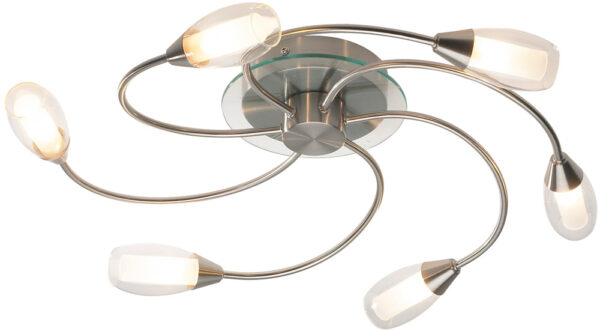 Dar Tugel Modern 6 Arm Flush Ceiling Light Satin Chrome