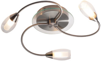 Dar Tugel Modern 3 Arm Flush Ceiling Light Satin Chrome
