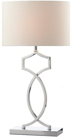 Dar Donovan Polished Chrome Table Lamp With Cream Shade