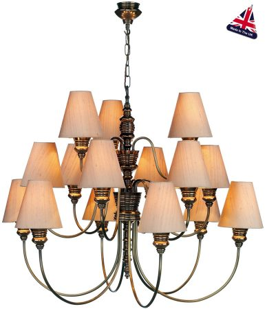 David Hunt Doreen Large Bronze 15 Light Chandelier Silk Shades