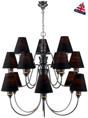 David Hunt Doreen Large Pewter 15 Light Silk Shade Chandelier