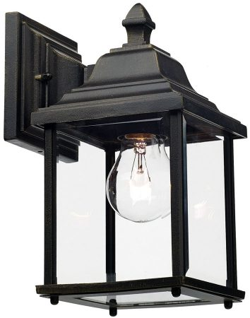 Dar Doyle Traditional Single Outdoor Wall Lantern Black And Gold