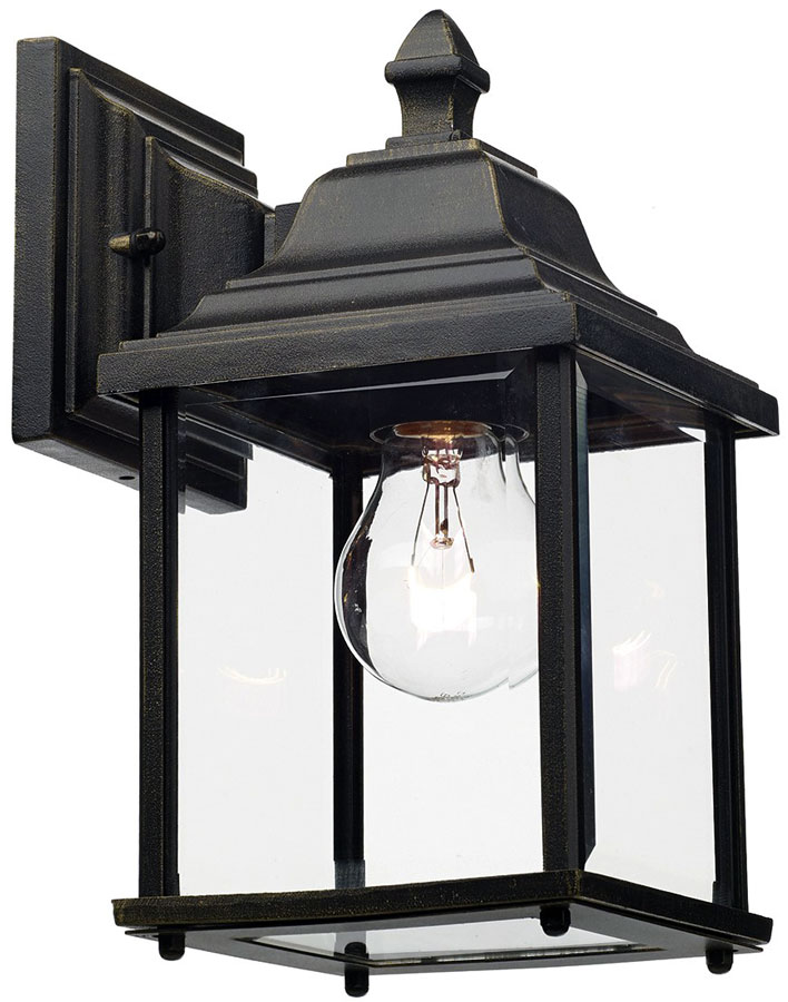 dar doyle traditional single outdoor wall lantern black and gold doy1635